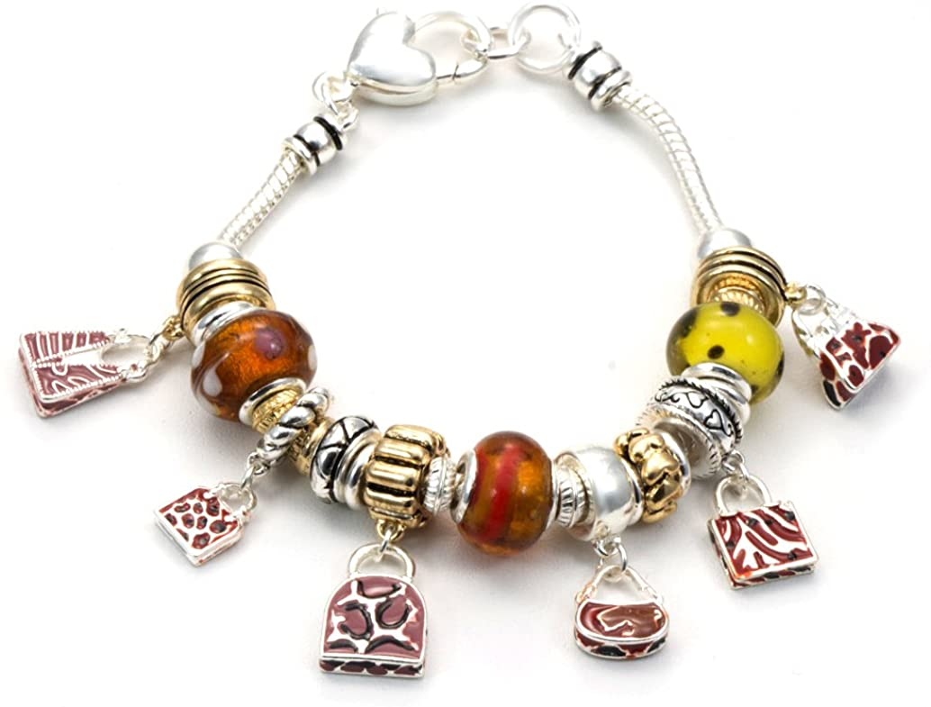 CFG ONLINE Hand Bags Theme Charm Bracelet. Standard 7.5 inches Long.