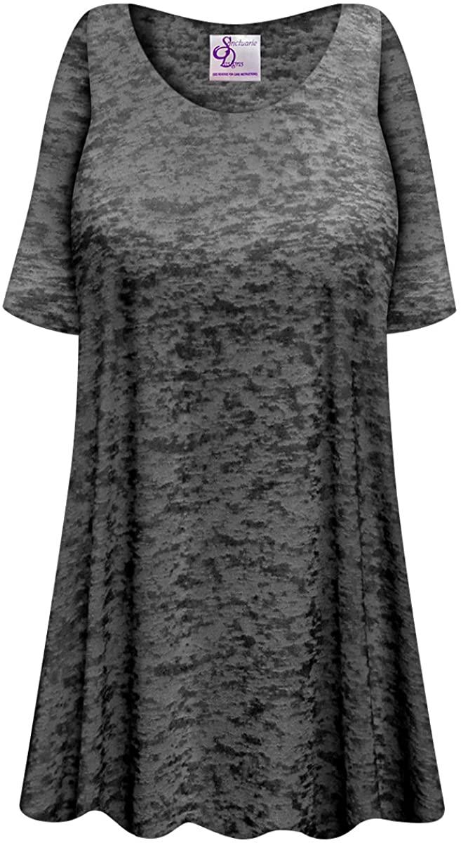 Semi-Sheer Burnout Print Plus Size Poly/Cotton Extra Long T-Shirt
