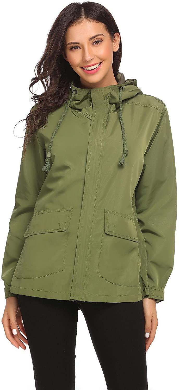 Vansop Women's Waist Drawstring Hooded Zipper Utility Jackets(Army Green)