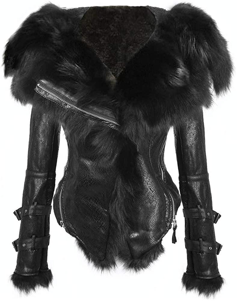 She'sModa Natural Real Fox Fur Collar Hoodie Slim Fit Women's Zipper Fleece Moto Jacket Winter Coat