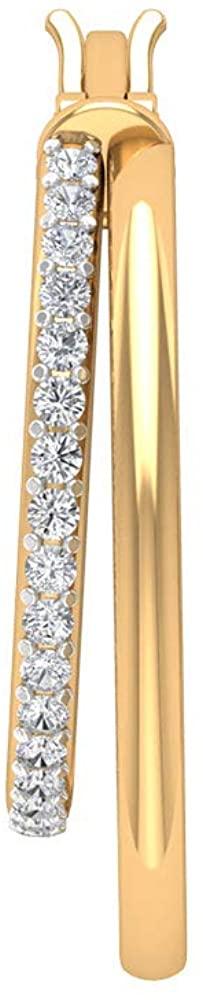 0.51Ct SGL Certified Diamond Gold Earring, Statement Wedding Bridal Huggie Earring, IJ-SI Color Clarity Diamond Two Hoop Earring, Unique Women Earring, clip-on