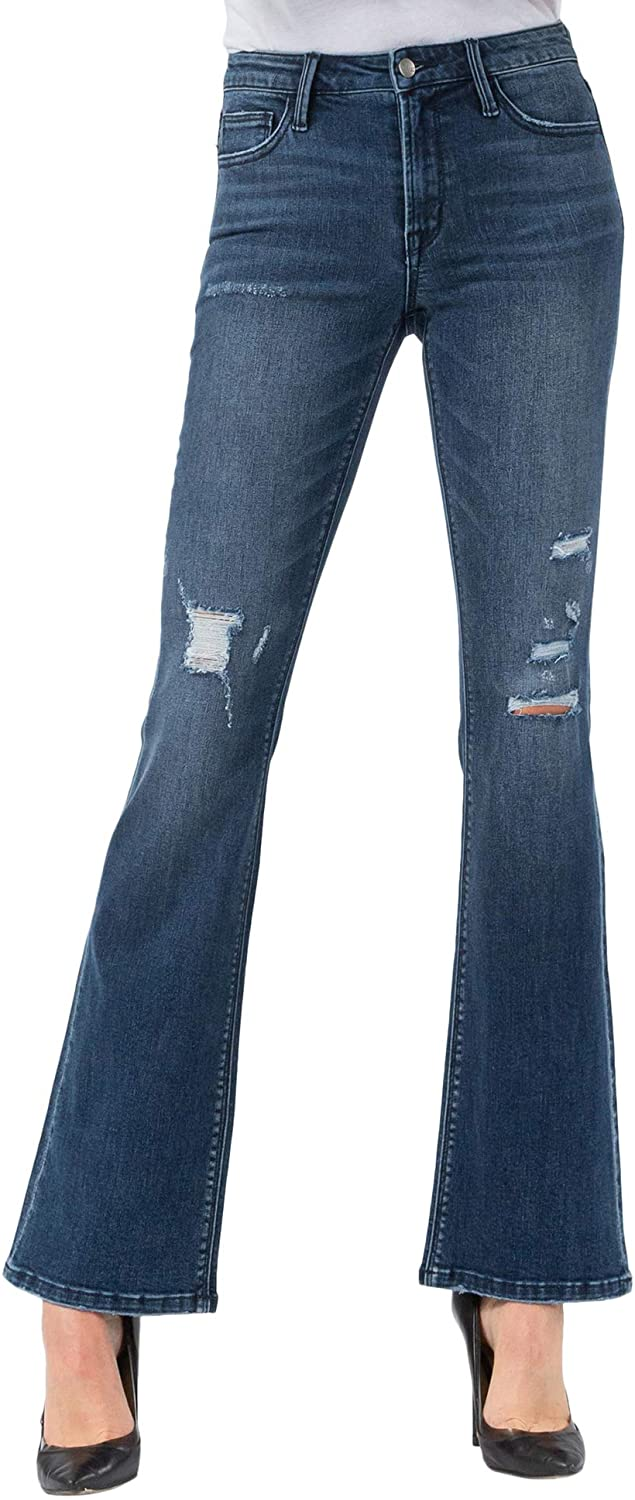 VERVET by Flying Monkey Women's Mid Rise Distressed Flare Jeans