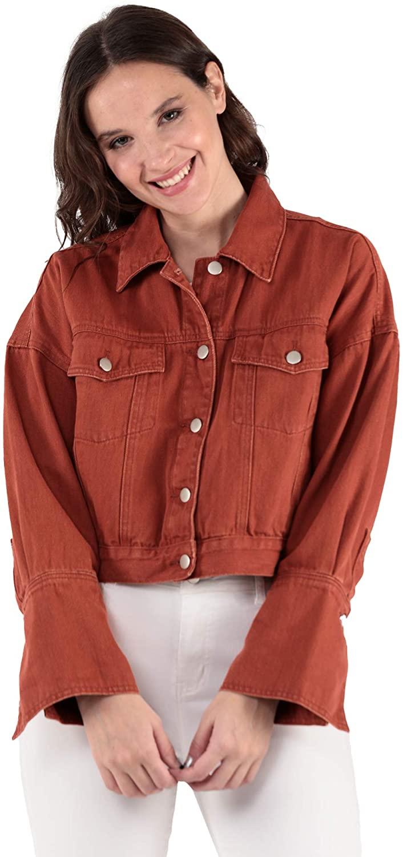 UNTAGGABLE Denim Jacket for Women (Burnt Orange, Large)