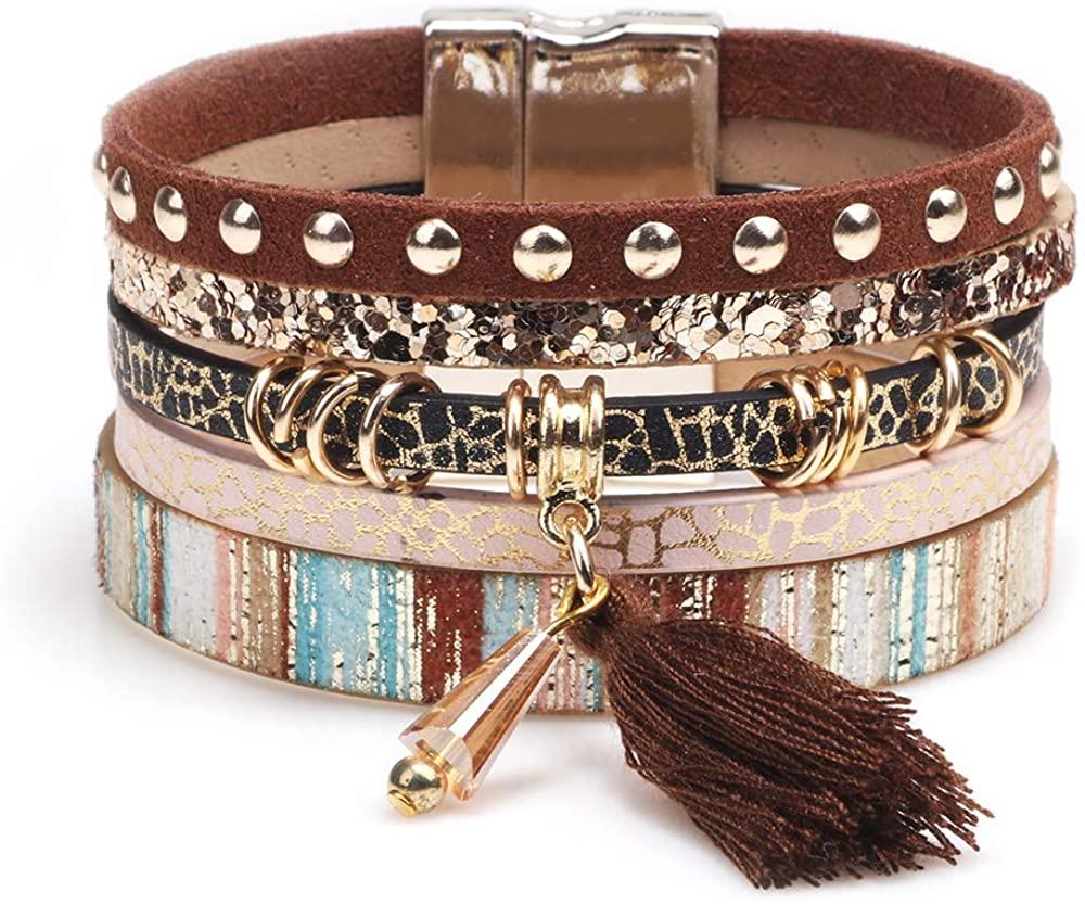 Wrap Multilayer Bracelets for Women - Leather Wristband Strand - Boho Bangle Gift Ideas for Teen Girls