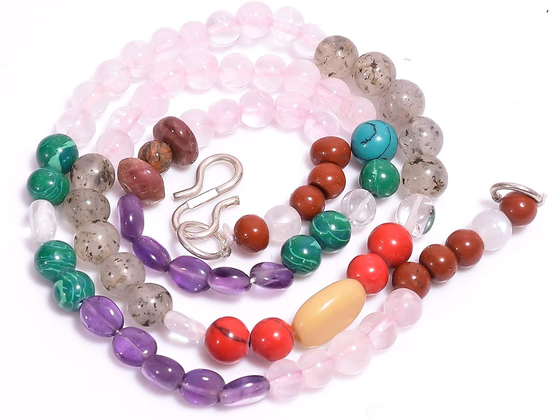 Unique Beads Natural Rose Quartz Malachite Amethyst Mix Shape Beads Necklace5-11mm 17