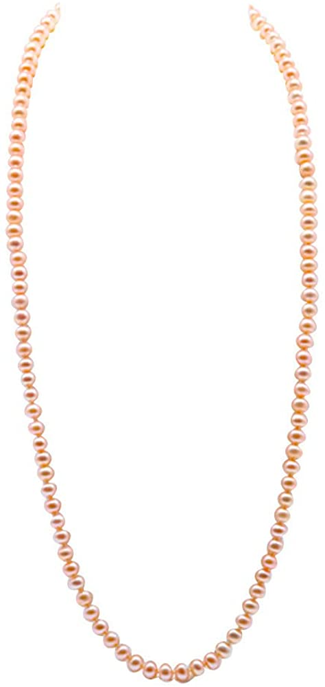 JYX Long Strand Pink Pearl Necklace AA+ 8-9mm Freshwater Cultured Pearl Necklace for Women Sweater Chain 32