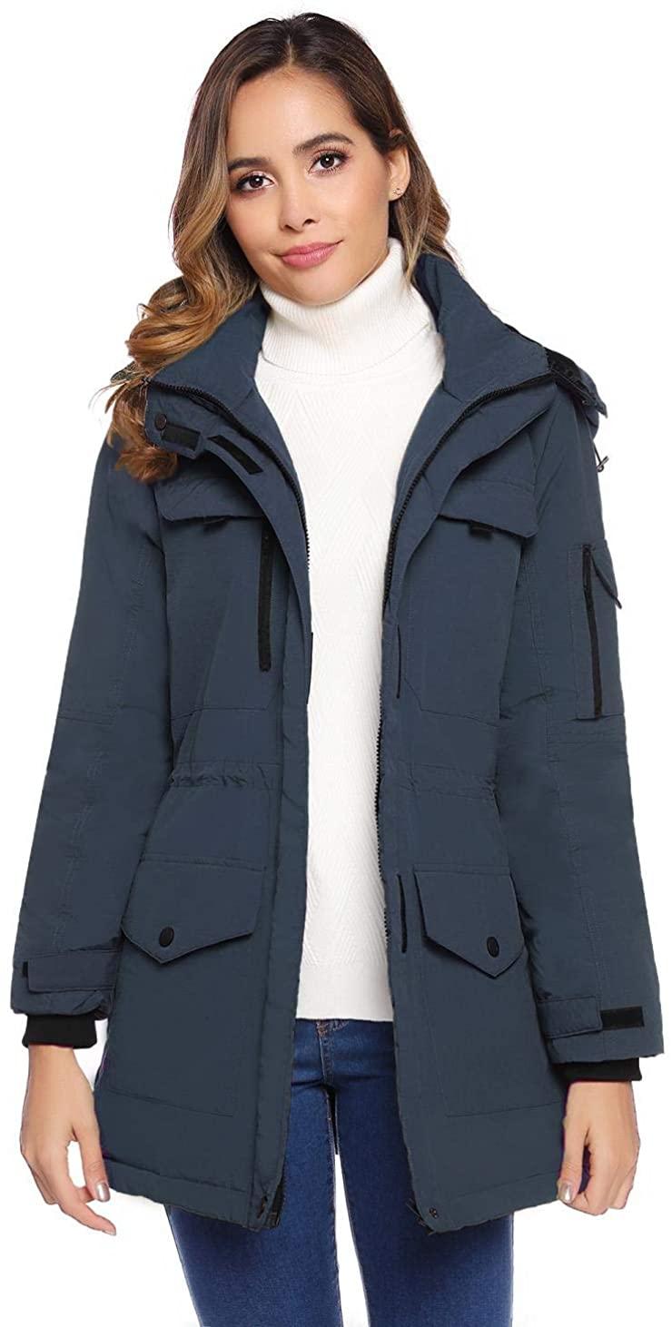 Akalnny Women Thickened Down Jacket Stylish Warm Coat Winter Jacket with Hood