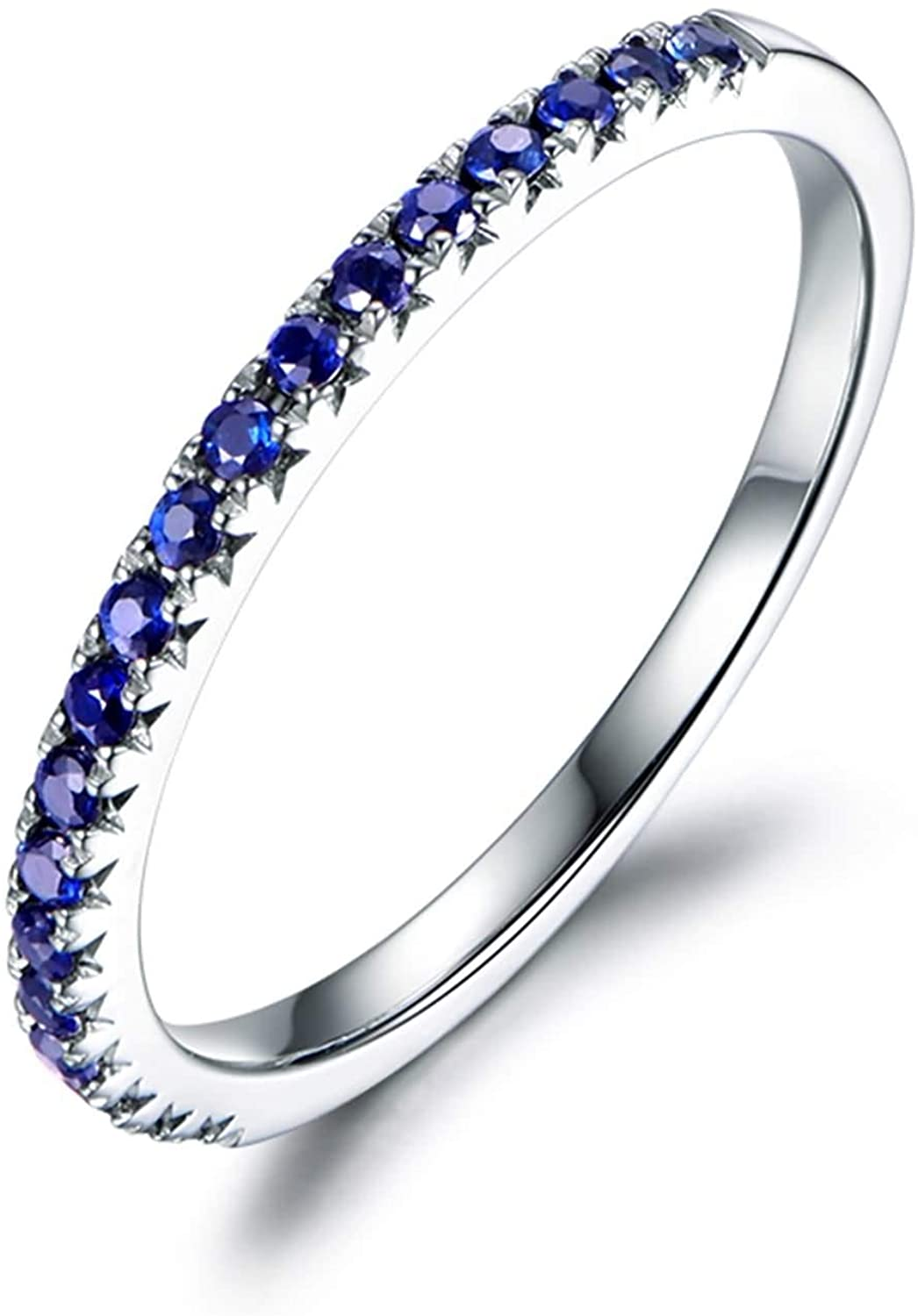 AMDXD Ring Engagement White Gold 18K, Band Ring with Sapphire 0.24ct Anniversary Rings for Women White Gold Size 8