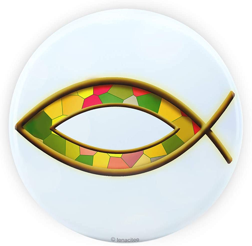 Tenacitee Stained Glass Fish Pinback Button