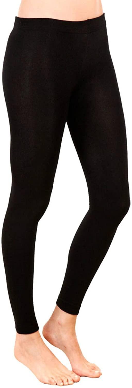 GirlzWalk Womens Ladies Plain Cotton Full Length Leggings Black Thick Pant