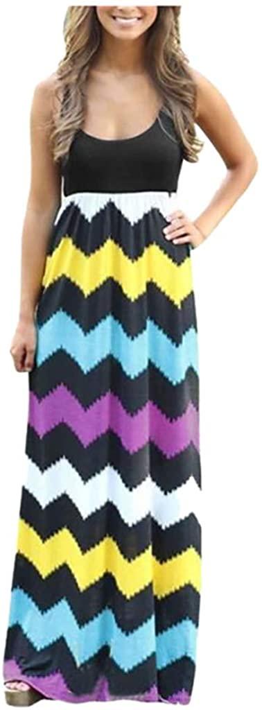 Mikey Store Womens Striped Long Boho Dress Lady Beach Summer Sundrss Maxi Dress