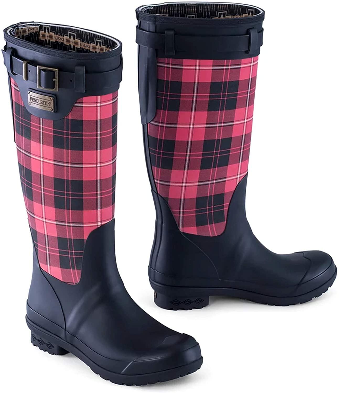 Pendleton Women's Heritage Print Tall Slip-Resistant Rain Boot, Cunningham Tartan Scarlet, Size
