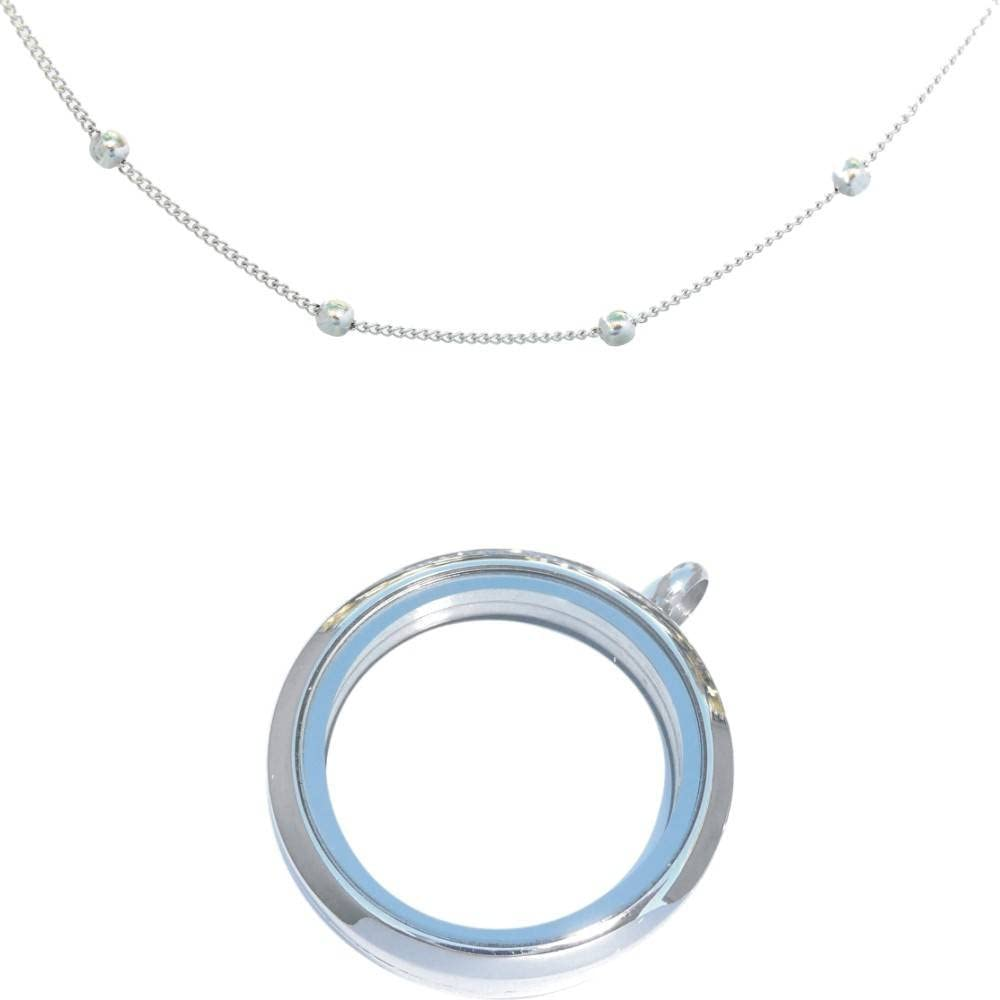 20 Inch Military Ball Silvertone Necklace with 20 Inch Ball Station Silvertone Necklace
