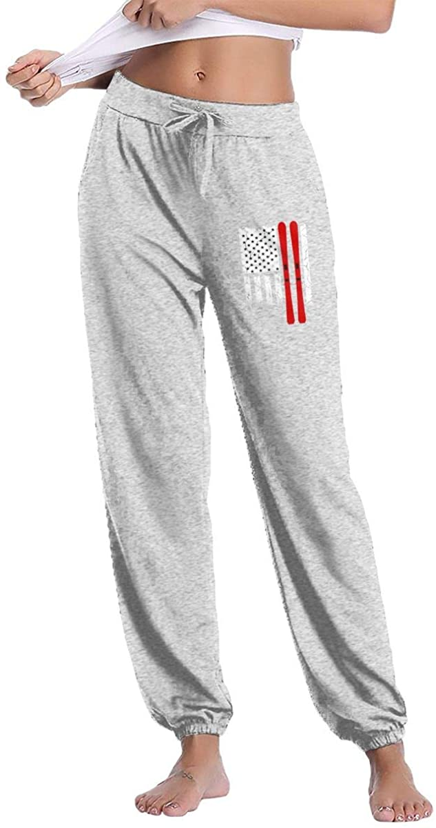 LzVong US American Flag Ski Skiing Women Sweatpants Fitness Trousers Jogger Pant