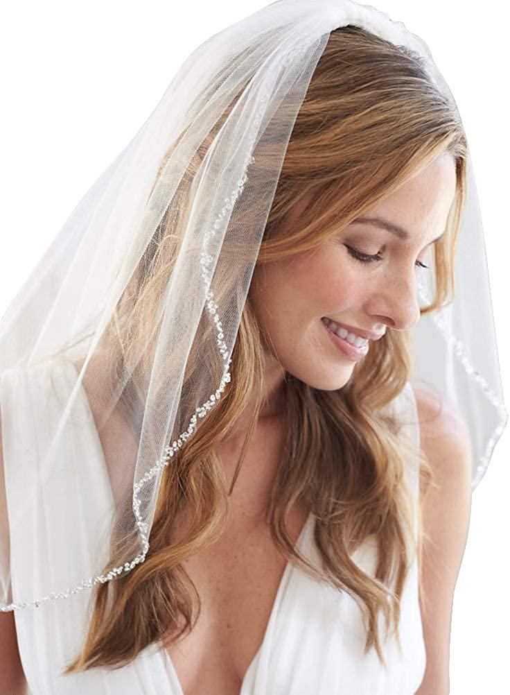 1T Fenghuavip Short Wedding Veil Fingertip Length Beaded Edge for Bride with Comb
