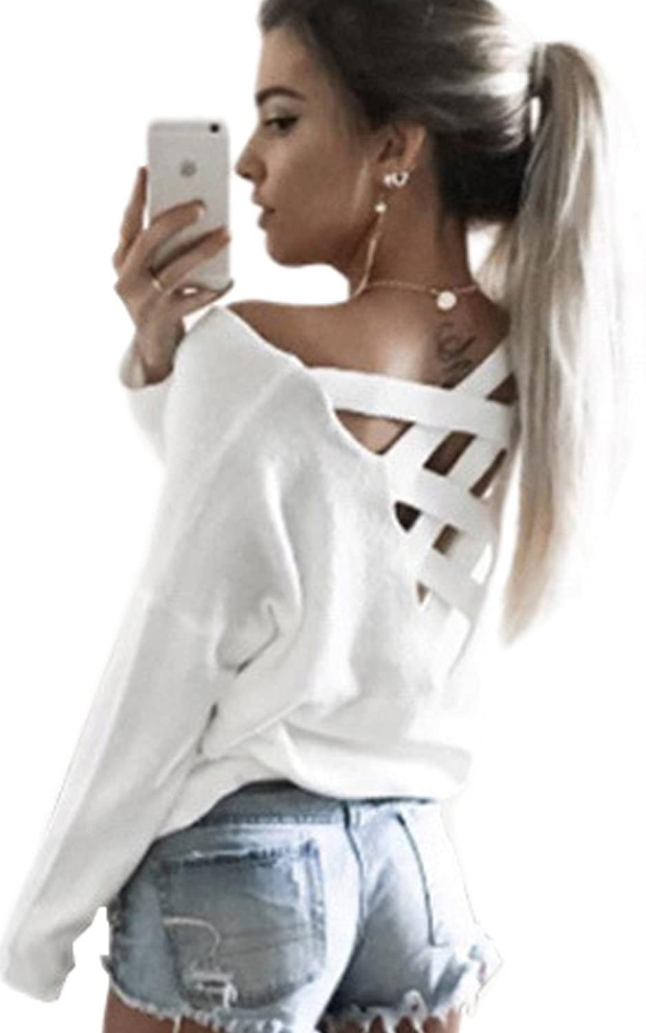 ECOWISH Womens Criss Cross V Neck Sweater Cut Out Loose Pullover Blouse Backless Shirt Casual Jumper Tops