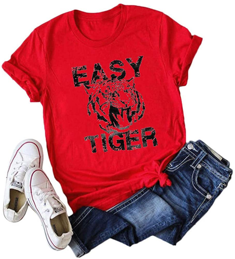 Airuisa Women's Loose Tiger Letter Printed Round Neck Short Sleeve T-Shirt top