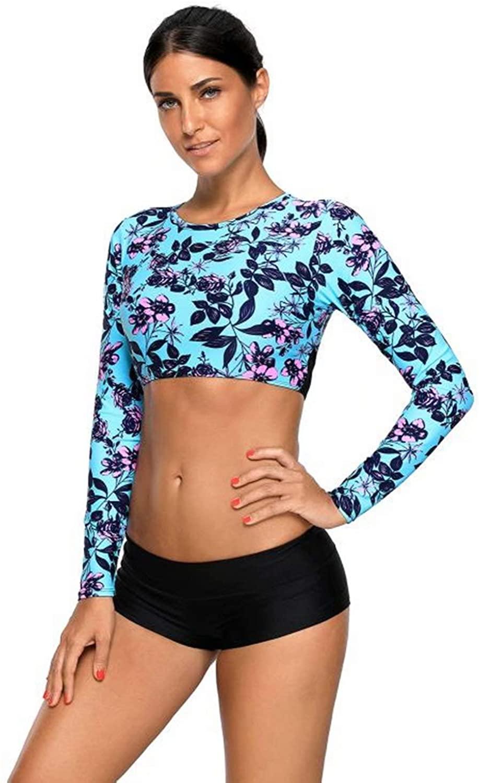 Women's Long Sleeve Rash Guard Swim Shirt Floral Print Tankini Swimsuit Crop Top