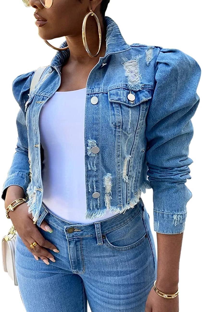 Denim Jacket for Women Distressed Butterfly Denim Long Sleeve Jean Jackets