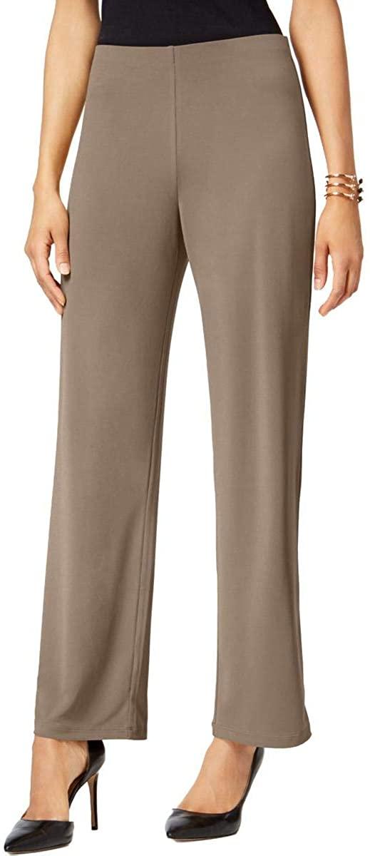 Alfani Womens Beige Wide Leg Pants Size L