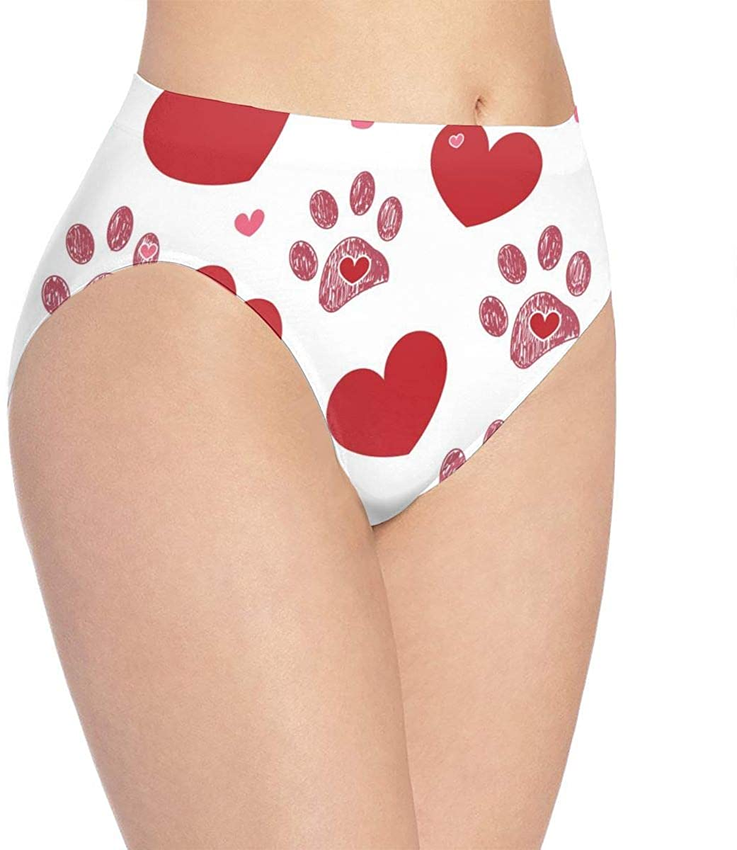 Womens Invisibles Hipster Panty,Dog Paw Print with Hearts Panties Breathable Stretchy Low Waist Briefs,for Teens Women