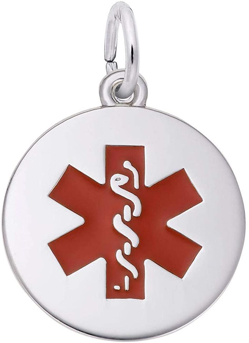 Sterling Silver Red Medical Symbol Charm