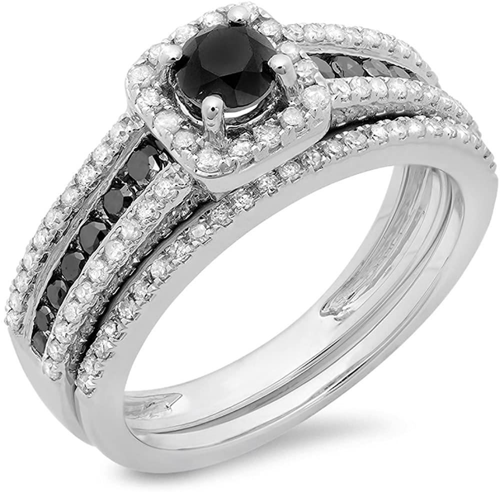 Dazzlingrock Collection 1.15 Carat (ctw) 14K Gold White & Black Diamond Ladies Halo Bridal Engagement Ring Matching Band Set