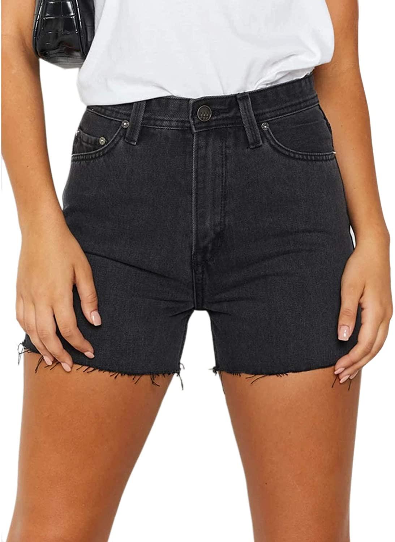 just quella Women Black Stretch Denim Shorts Distressed Hemline A-line Denim Shorts