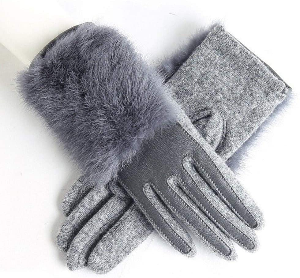 Slowoi Winter Women Sheepskin Actual Leather Gloves Lady Thickened Ardent Wool Gloves (Color : Gray, Gloves Size : One Size)