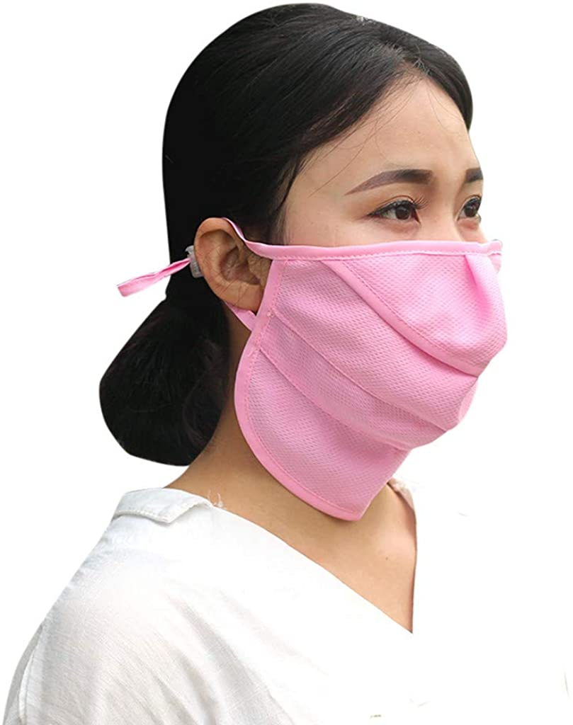 Fitfulvan Women Dust Wind Sun Protection Scarf Neck Motorcycle Face Mask, Anti-dust Reusable Cotton Mouth Face Masks