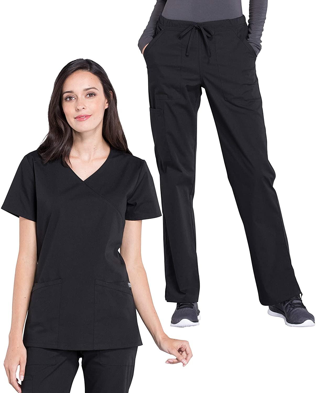 Cherokee Workwear Professionals Women's Mock Wrap Scrub Top WW655 & Women's Drawstring Scrub Pants WW160 Medical Uniforms Scrub Set (Black - Large/X-Large)