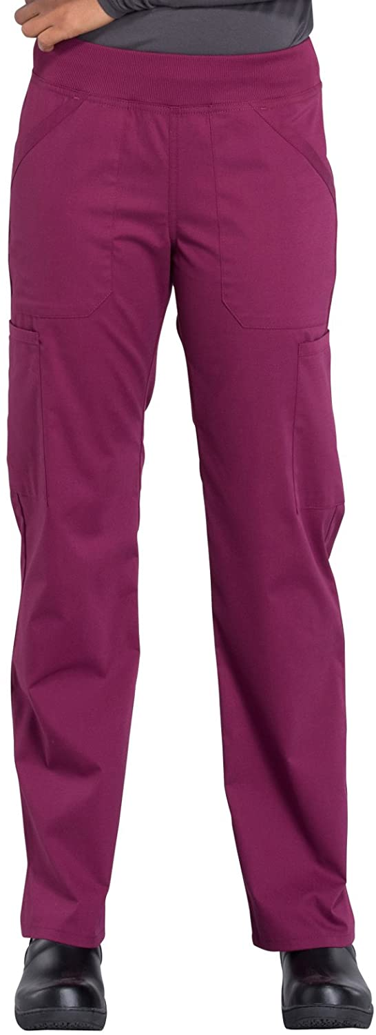 Cherokee Workwear Professionals Mid Rise Straight Leg Pull-on Cargo Scrub Pant, 2XL Tall, Wine