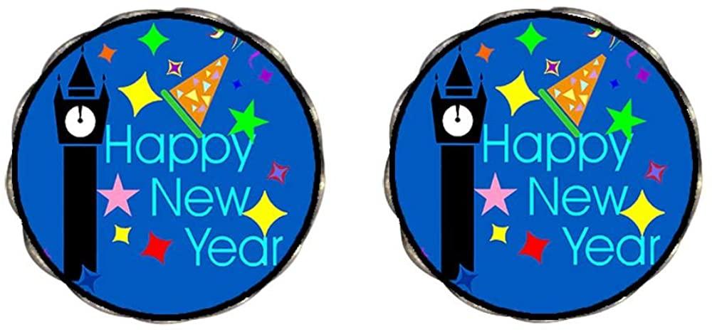 GiftJewelryShop Bronze Retro Style Happy New Year Photo Clip On Earrings Flower Earrings 12mm Diameter