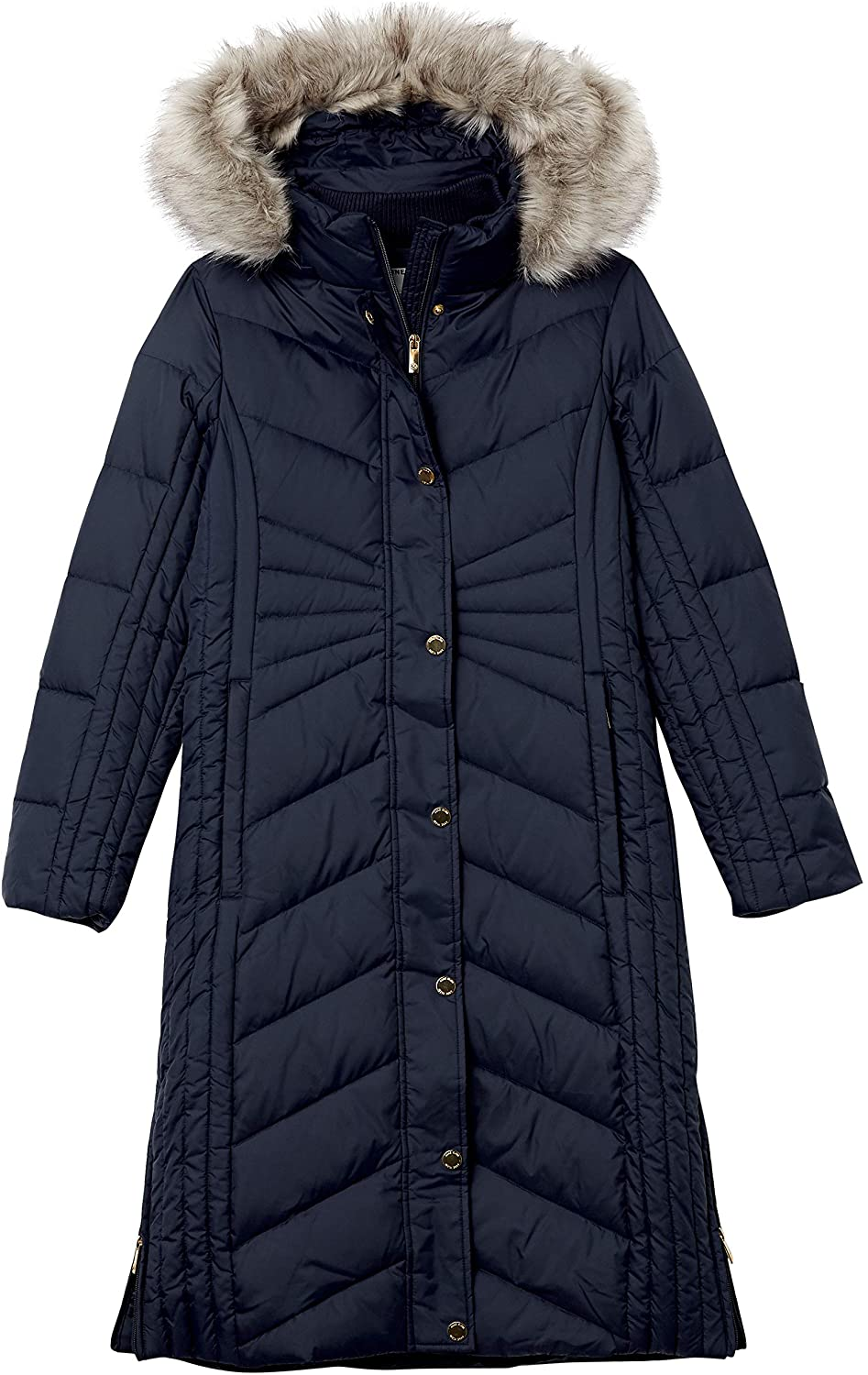 Anne Klein Women's Long Down Coat with Faux Fur Trim