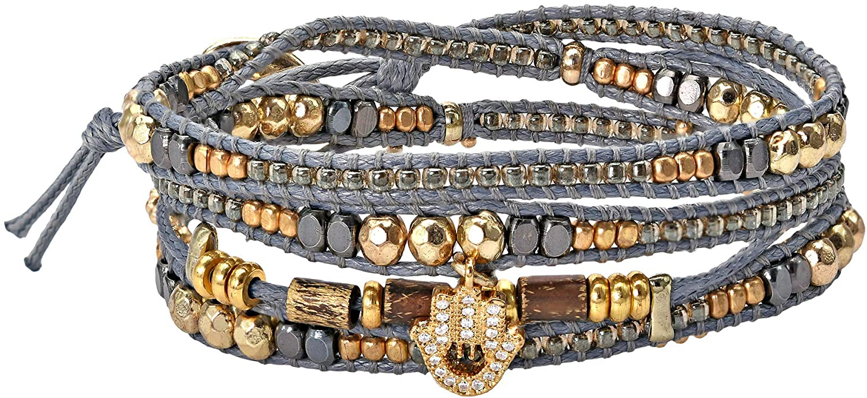 AeraVida Shimmering Brass and Cubic Zirconia Hamsa Hand Beaded Grey Leather Wrap Bracelet