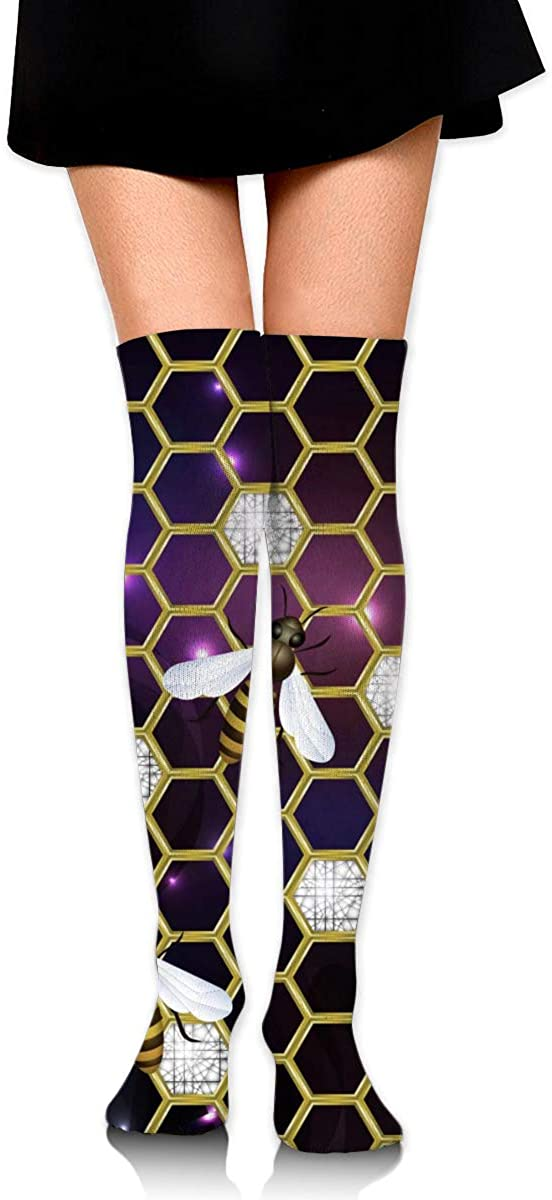 Game Life High Socks Golden Honeycombs With Bees Sport Socks Crew Socks