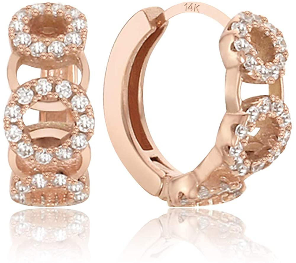 EVA 14K Gold Post Cubic Zircornia Huggie Hoop Earrings Rose Gold Plating | Stud Earrings for Women