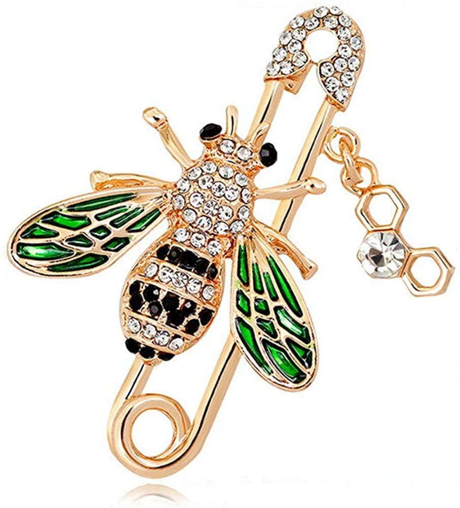 GYAYU Bee Brooch pins Women Enamel Crystal Insect Pin Lapel Pin Large Safety Pin