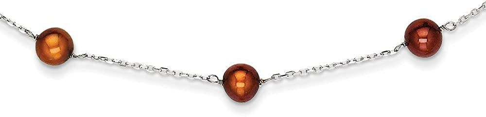 Beautiful White gold 14K 14K WG Brown FW Cultured Pearl Necklace