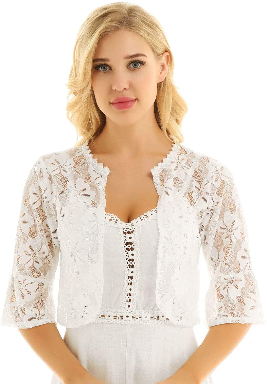 zdhoor Woman Lace Sheer Crochet Bolero Shrug Cardigan Crop Top Bridal Shwal Wrap for Evening Dress
