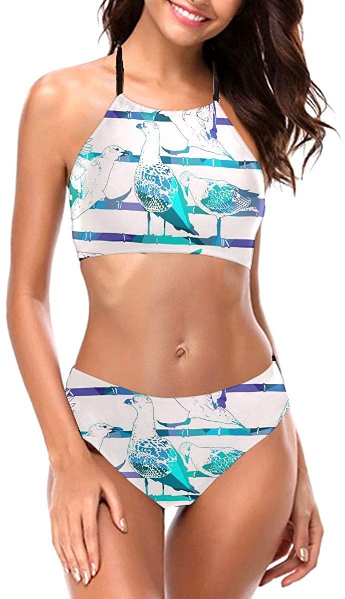 Lianmei Bikini Swimsuit for Women Abstract Vector Seamless Birds Bikini Two Piece