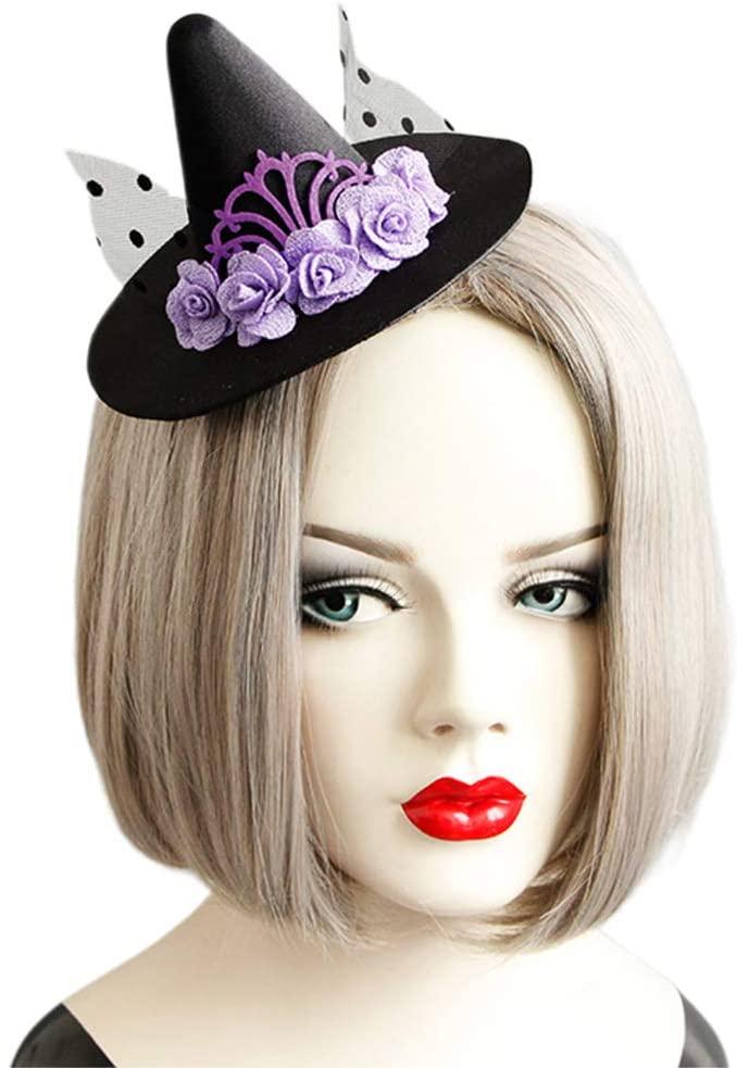 chefensty Women Fascinator Polka Pot Net Hairclip Purple Flower Hairband Witch Top Hat Kit