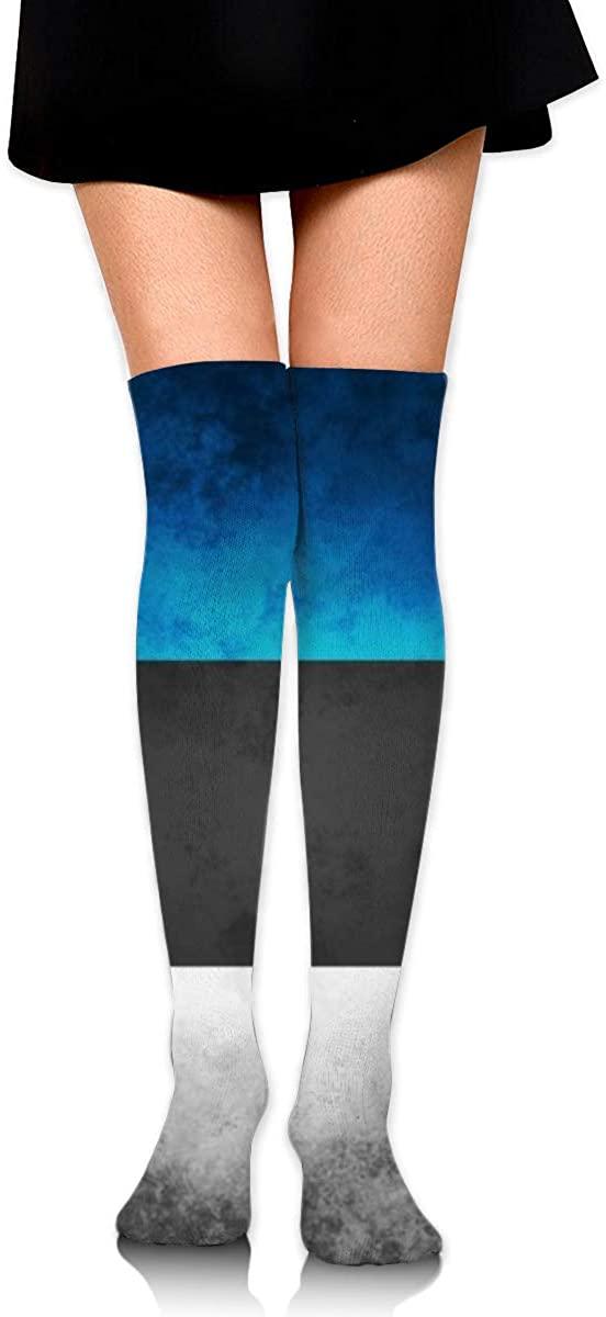 Dress Socks Retro Stripe Estonia Flag Long Knee Hose Tights Hold-Up Stockings