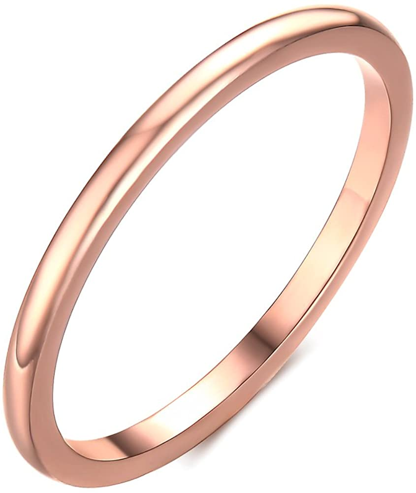 Anka Stainless Steel Plain Band Ring for Women,1.5mm Width Rose Gold Size 6-8