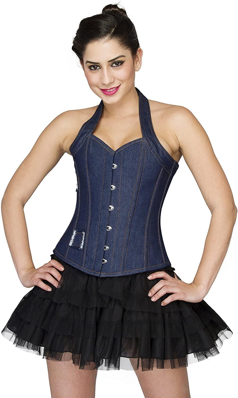 Plus Size Corset Blue Denim Halter Neck Lace Bustier Gothic Costume Overbust Top