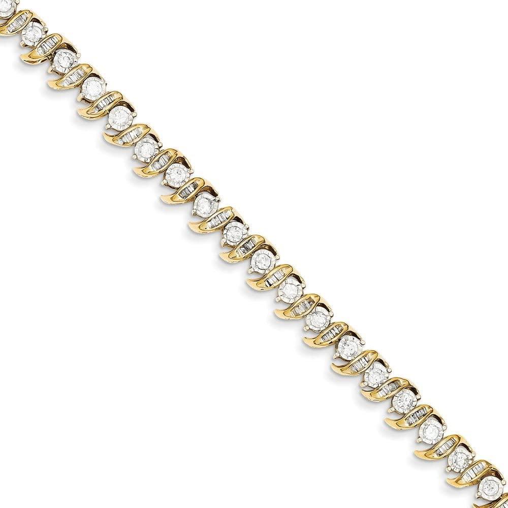 Solid 14k Yellow Gold Diamond Bracelet 7