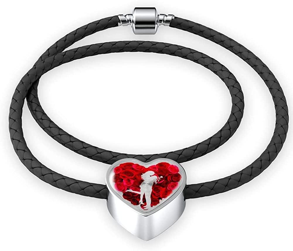 prints4fun.com Romantic Love Luxury Leather Woven Bracelet