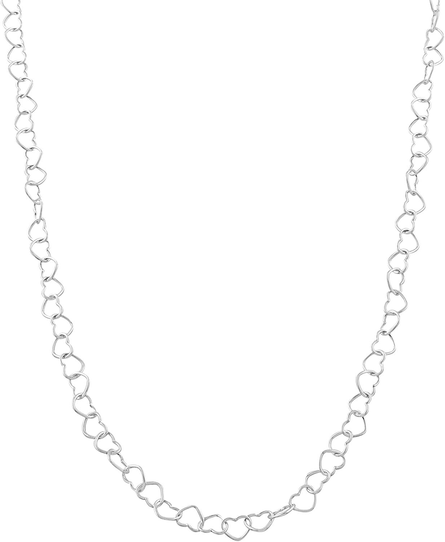 Kooljewelry Sterling Silver 3.4 mm Hearts Link Chain Necklace (20 inch)