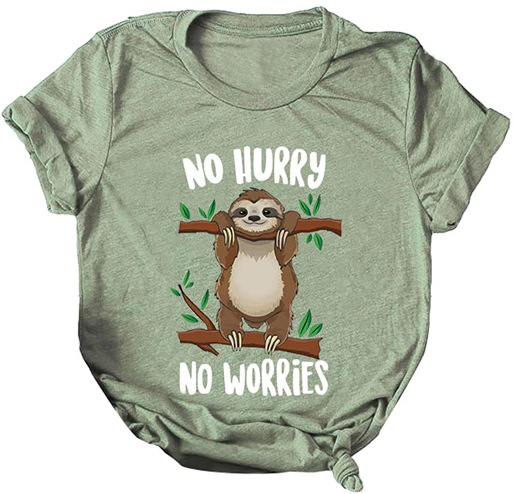 carduran Women Funny No Hurry Worries Letter Cute Cartoon Sloth Print Plus Size Summer T-Shirt Top