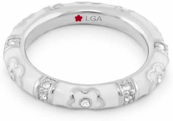 Lauren G. Adams Rhodium-Plated Stackable Pave Daisy Love Ring with Enamel